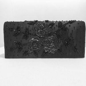 Handbags - Black Satin Clutch with Embroidery